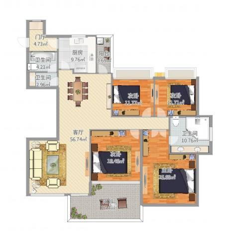 银河湾4室1厅3卫1厨224.00㎡户型图