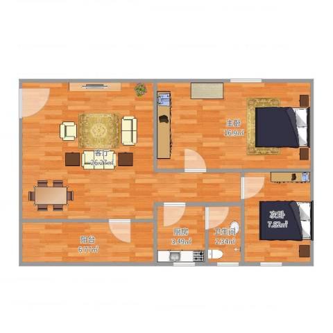 ID6141807尚雅街大院2室1厅1卫1厨79.00㎡户型图