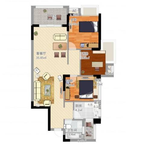 钜隆风度花园3室2厅1卫1厨112.00㎡户型图