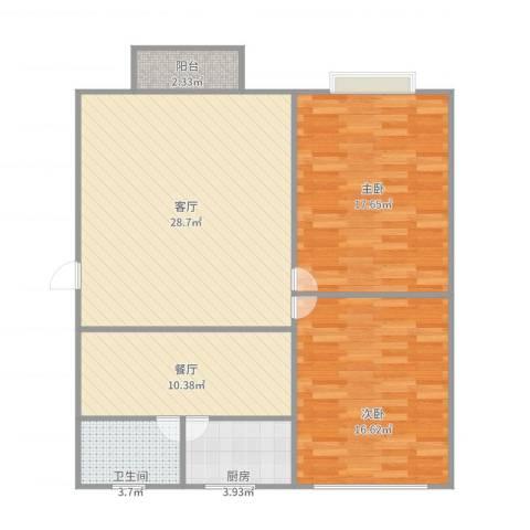 富锦路1659弄小区2室2厅1卫1厨111.00㎡户型图