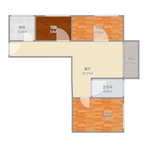 荣和怡景园3室1厅1卫1厨100.00㎡户型图