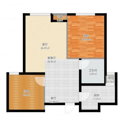 通用富馨佳苑2室2厅1卫1厨102.00㎡户型图