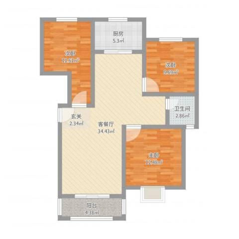 汇龙国际花园3室2厅1卫1厨101.00㎡户型图