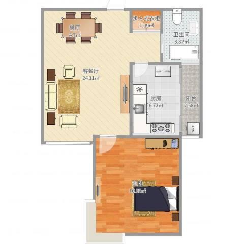 万邦都市花园1室2厅1卫1厨68.00㎡户型图