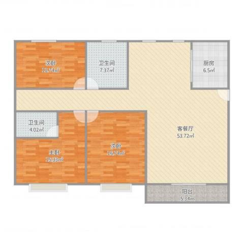 梦里水乡花园3室2厅2卫1厨162.00㎡户型图