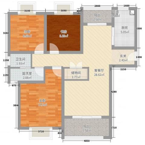 侨城中央公园3室4厅1卫1厨79.90㎡户型图