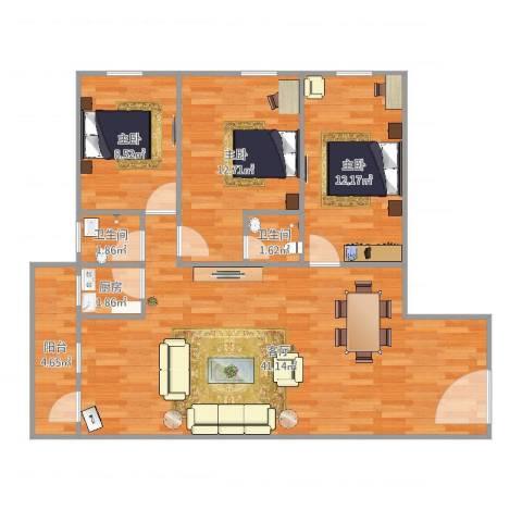 ID13156380侨诚花园春晓苑11栋505房3室1厅2卫1厨106.00㎡户型图