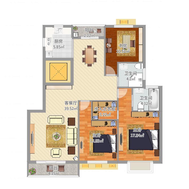 中央花园小区3室2厅2卫1厨(任务7)