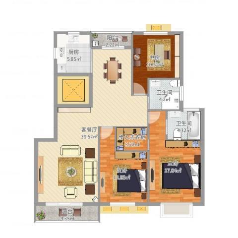 中央花园小区3室2厅2卫1厨135.00㎡户型图