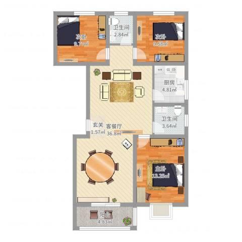今朝馨苑3室2厅2卫1厨107.00㎡户型图