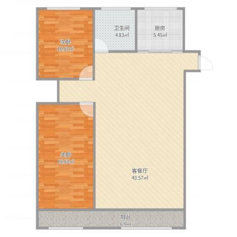 多伦多(民达大厦)2室2厅1卫1厨94.44㎡户型图