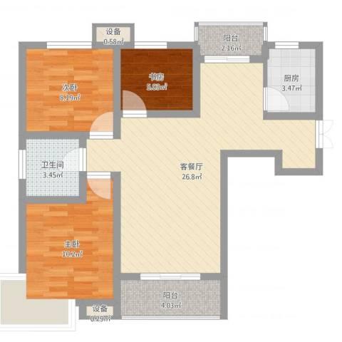 长春都市花园3室2厅1卫1厨80.00㎡户型图