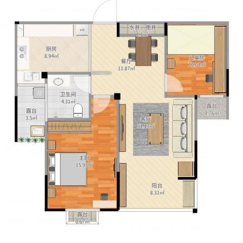 罗马假日2室1厅1卫1厨95.00㎡户型图