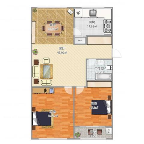 西沙小区东一区2室1厅1卫1厨133.00㎡户型图