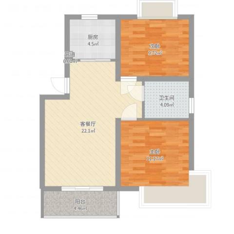 嘉骏香山苑2室2厅1卫1厨56.06㎡户型图