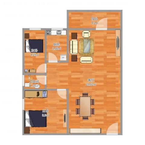 ID13490222侨诚花园冬日苑1栋1501房2室1厅1卫1厨64.00㎡户型图