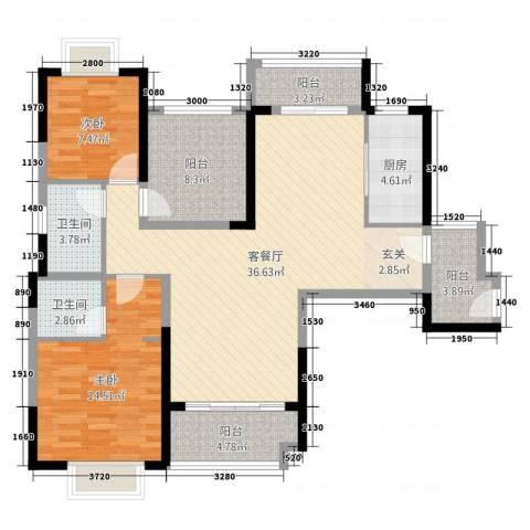 仁恒滨海半岛2室2厅2卫1厨130.00㎡户型图