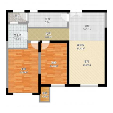 金地紫云庭2室2厅1卫1厨88.00㎡户型图