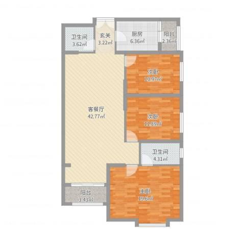 联盟新城3室2厅2卫1厨132.00㎡户型图