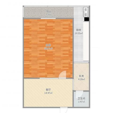 宜君北里1室1厅1卫1厨89.00㎡户型图