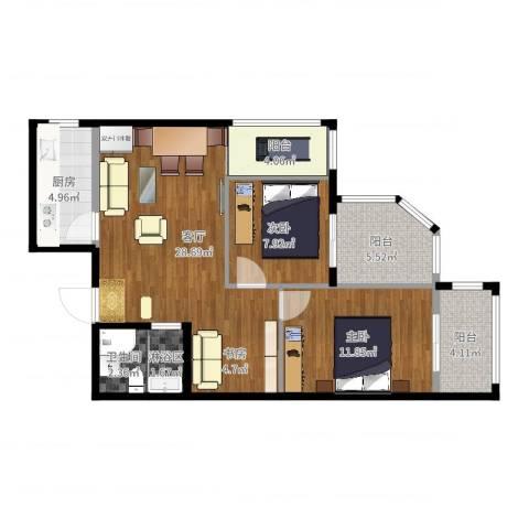 城市亮点2室1厅2卫1厨84.00㎡户型图
