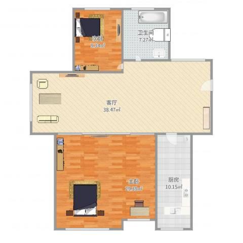 创世纪花园2室1厅1卫1厨125.00㎡户型图