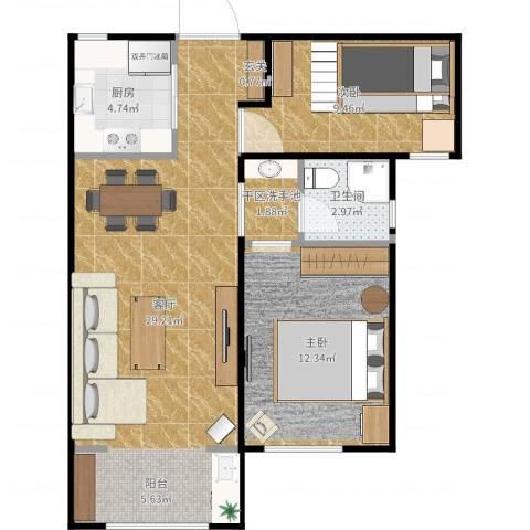 天朗蔚蓝东庭2室1厅1卫1厨76.00㎡户型图