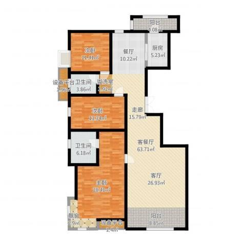 华城领秀3室2厅2卫1厨174.00㎡户型图