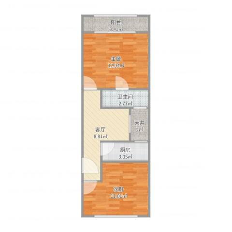 三门路358弄小区2室1厅2卫1厨55.00㎡户型图