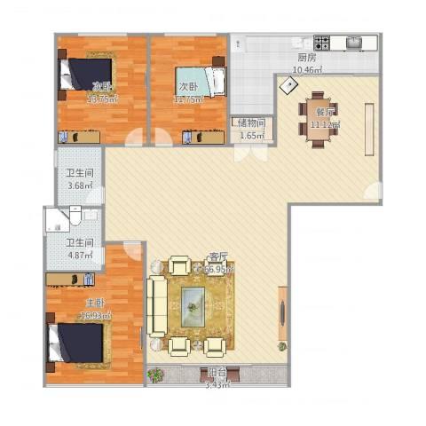 精文城上城3室1厅2卫1厨178.00㎡户型图