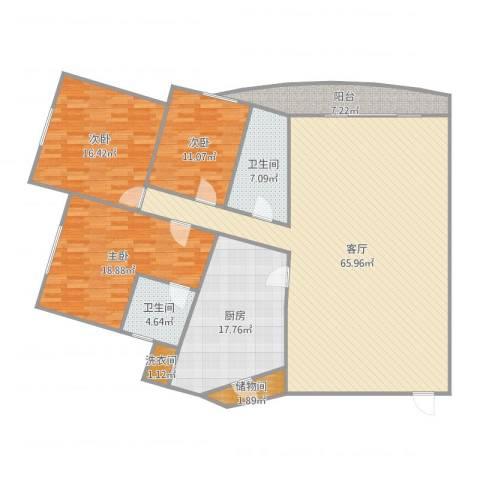东方巴黎广场3室1厅2卫1厨190.00㎡户型图