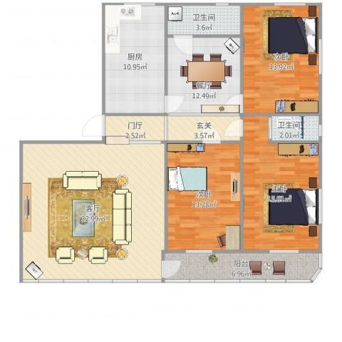 龙腾花园3室2厅2卫1厨142.00㎡户型图