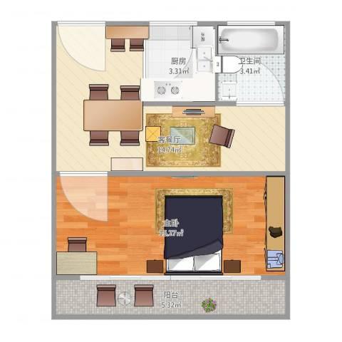 石泉一村1室2厅1卫1厨58.00㎡户型图