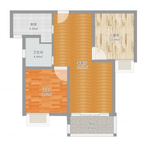 三湘森林海尚1室2厅1卫1厨82.00㎡户型图