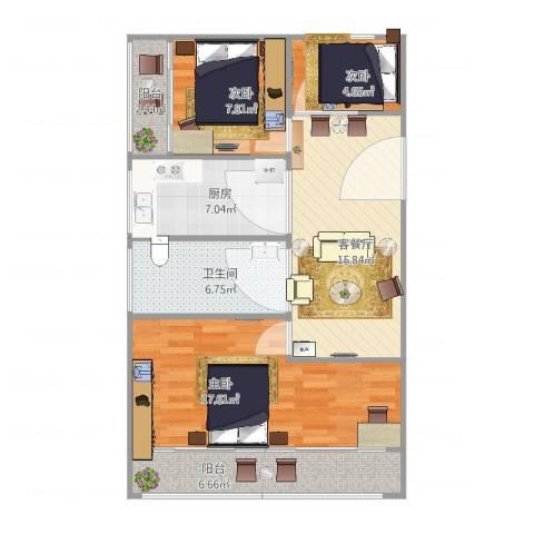 延长西路40弄小区3室2厅1卫1厨94.00㎡户型图
