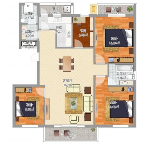常青藤小城4室2厅3卫1厨131.00㎡户型图