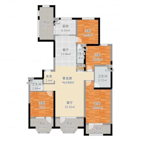 保利海德公园4室2厅3卫1厨182.00㎡户型图