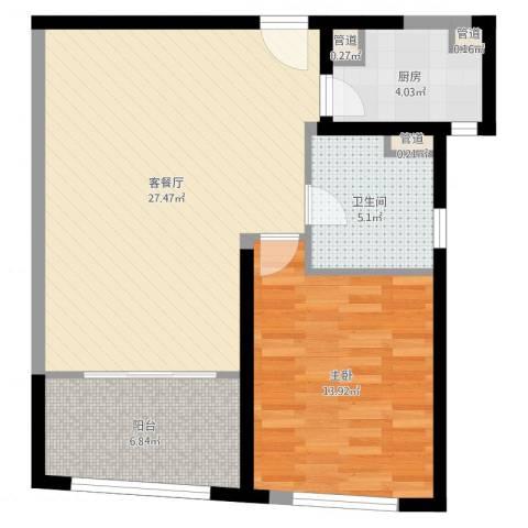 香梅花园五期1室2厅1卫1厨72.00㎡户型图
