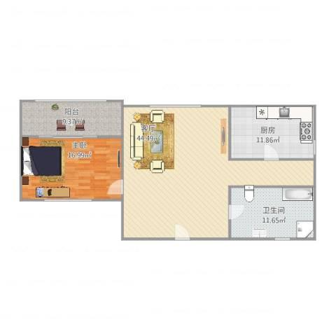 恒安小区1室1厅1卫1厨125.00㎡户型图