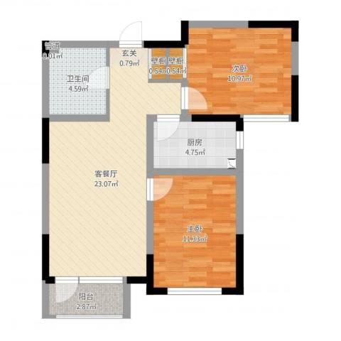 宝境檀香2室2厅1卫1厨73.00㎡户型图