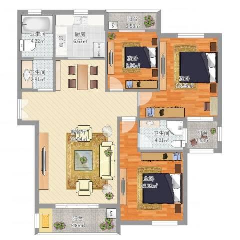 浅水湾蔚蓝水岸3室2厅3卫1厨131.00㎡户型图