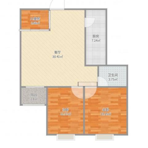 滨河悦秀3室1厅1卫1厨90.00㎡户型图