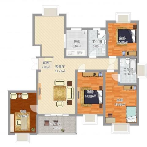 都市豪庭4室2厅2卫1厨142.00㎡户型图