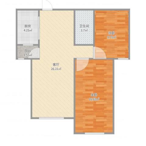 丽景蓝湾C区2室1厅1卫1厨78.00㎡户型图