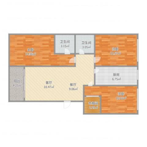 伟东新都三室两厅两卫3室1厅2卫1厨105.00㎡户型图
