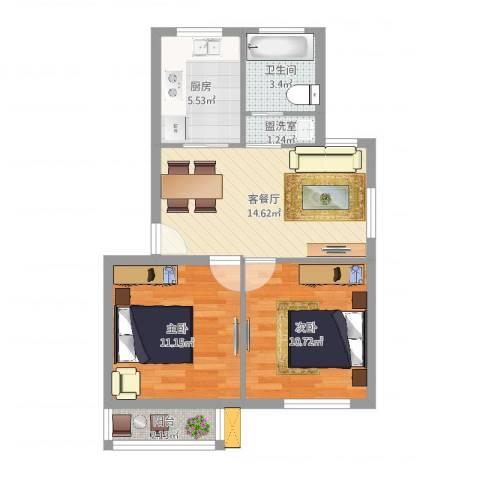 广厦怡庭2室4厅1卫1厨61.00㎡户型图