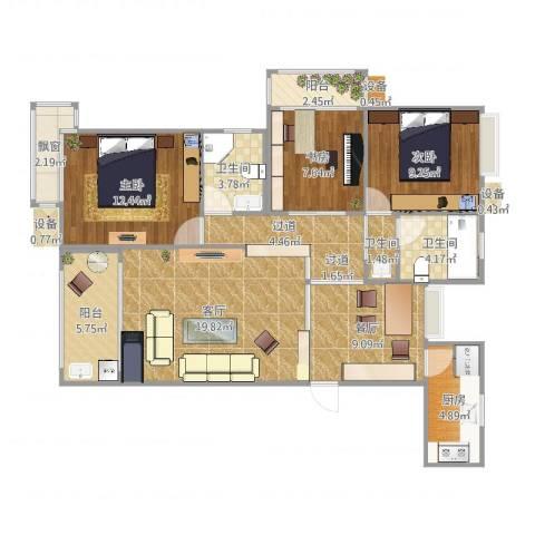 朗贤奥特莱斯小镇3室2厅3卫1厨104.00㎡户型图