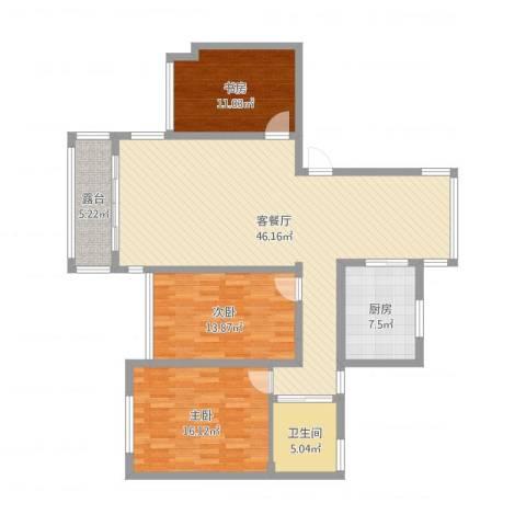 万悦城3室2厅1卫1厨131.00㎡户型图