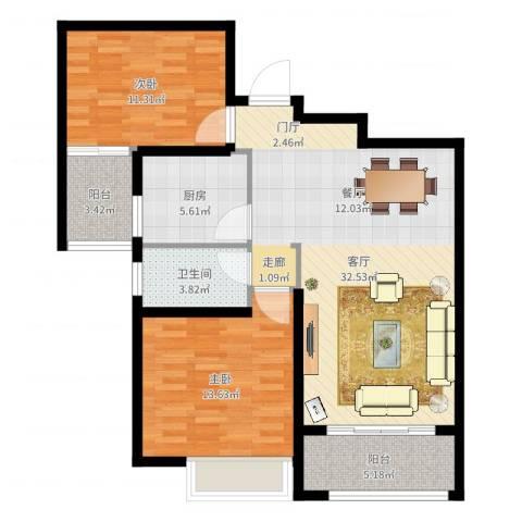 苏州首开常青藤2室1厅1卫1厨94.00㎡户型图