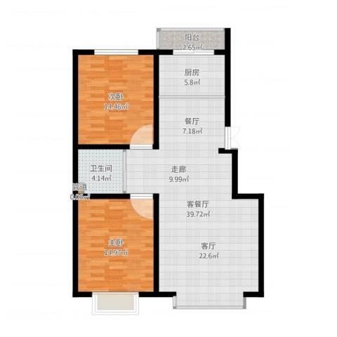 青阳四季园2室2厅1卫1厨100.00㎡户型图